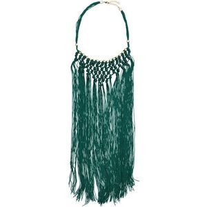 H&M Emerald Green Gold Fringe Necklace